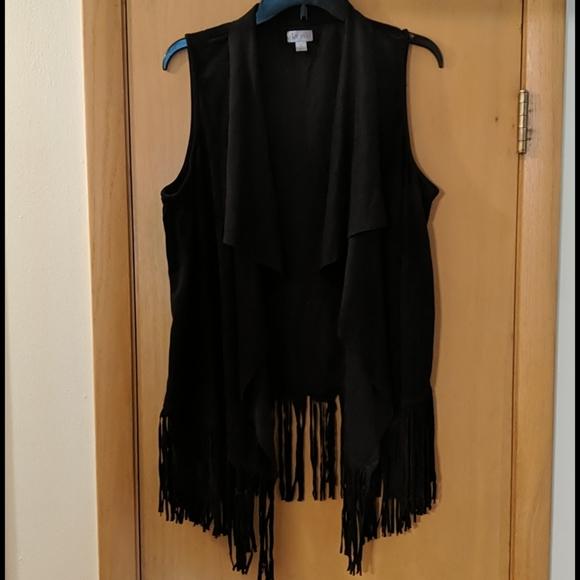 Decree Jackets & Blazers - Decree Fringe Faux leather open front vest size XL